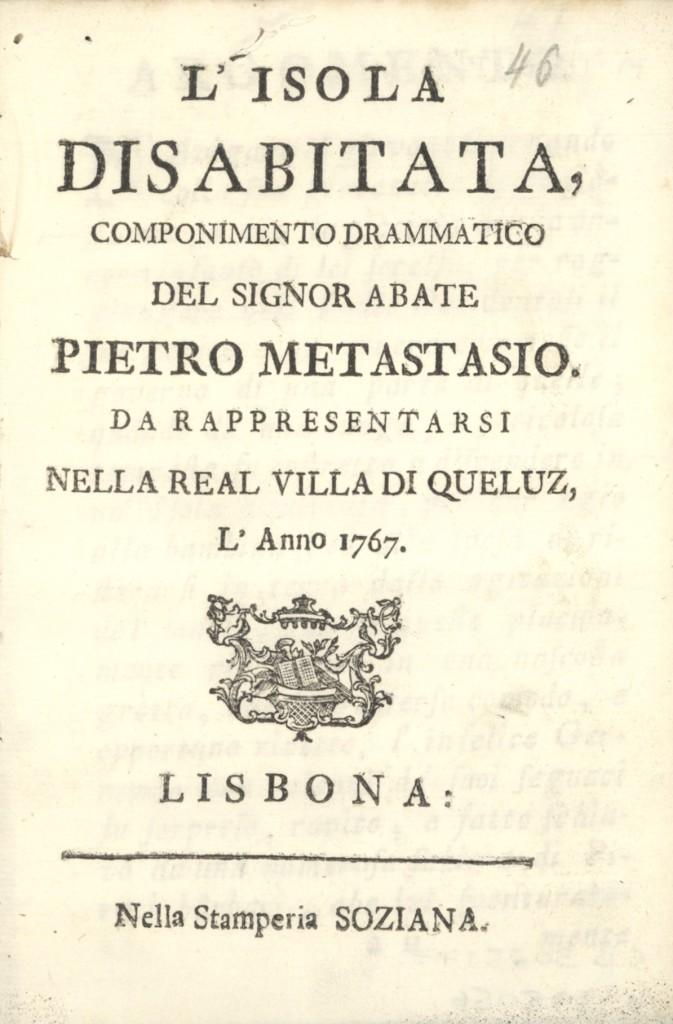 Frontispício do Libretto para a representação de  Queluz com música de David Perez (1767)